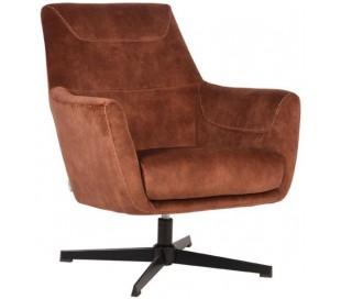 Toby rotérbar lænestol i velour H90 cm - Rust