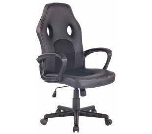 Racing Gaming kontorstol i kunstlæder H106 - 116 cm - Sort/Sort