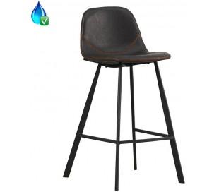 Luke Barstol i øko-læder H90 cm - Sort/Antracit