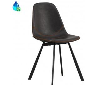 Luke Spisebordsstol i øko-læder H78 cm - Sort/Antracit