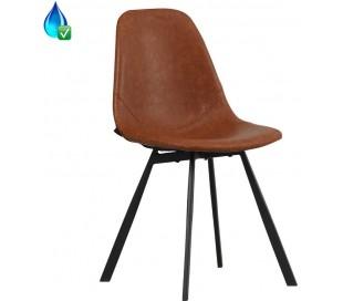 Luke Spisebordsstol i øko-læder H78 cm - Sort/Cognac