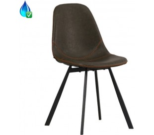 Luke Spisebordsstol i øko-læder H78 cm - Sort/Olivengrøn