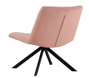 Eevi rotérbar loungestol i velour H82 cm - Sort/Rosa