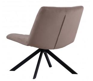Eevi rotérbar loungestol i velour H82 cm - Sort/Taupe