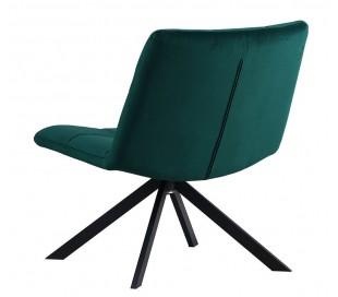 Eevi rotérbar loungestol i velour H82 cm - Sort/Mørkegrøn