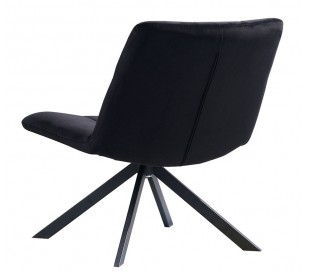 Eevi rotérbar loungestol i velour H82 cm - Sort/Sort
