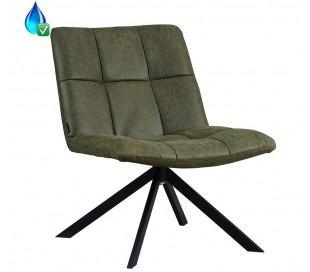 Eevi rotérbar loungestol i øko-læder H82 cm - Sort/Olivengrøn