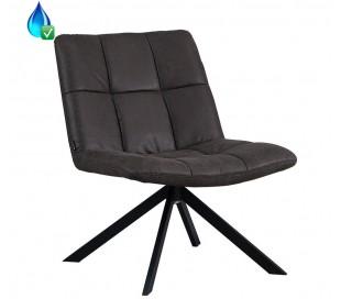 Eevi rotérbar loungestol i øko-læder H82 cm - Sort/Antracit
