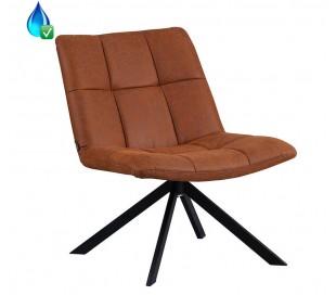 Eevi rotérbar loungestol i øko-læder H82 cm - Sort/Cognac