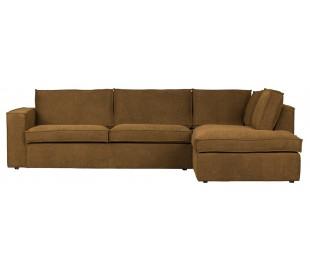 Freddie sofa med chaiselong i tekstil 283 x 197 cm - Bronze