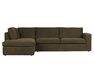 Freddie sofa med chaiselong i tekstil 283 x 197 cm - Varm grøn