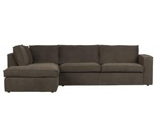 Freddie sofa med chaiselong i tekstil 283 x 197 cm - Brun