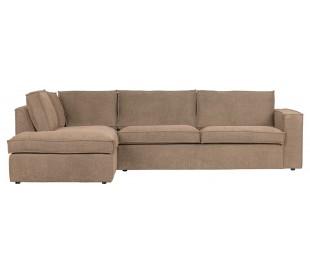 Freddie sofa med chaiselong i tekstil 283 x 197 cm - Leverbrun