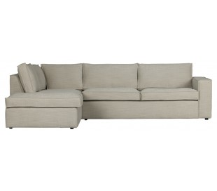 Freddie sofa med chaiselong i tekstil 283 x 197 cm - Natur