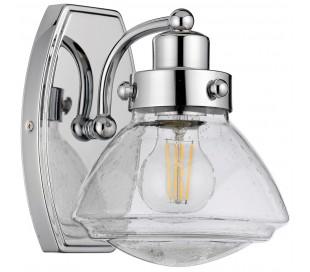 Scholar Badeværelseslampe i stål og glas H22,1 cm 1 x E27 - Poleret krom/Klar med dråbeeffekt