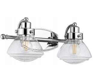 Scholar Badeværelseslampe i stål og glas B44,9 cm 2 x E27 - Poleret krom/Klar med dråbeeffekt