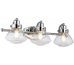 Scholar Badeværelseslampe i stål og glas B63,4 cm 3 x E27 - Poleret krom/Klar med dråbeeffekt