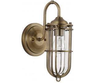 Urban Restoration Badeværelseslampe i stål og glas H31,1 cm 1 x E27 - Antik messing/Klar
