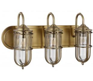 Urban Restoration Badeværelseslampe i stål og glas B54,3 cm 3 x E27 - Antik messing/Klar