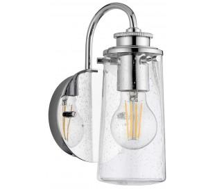 Braelyn Badeværelseslampe i stål og glas H24,4 cm 1 x E27 - Poleret krom/Klar med dråbeeffekt