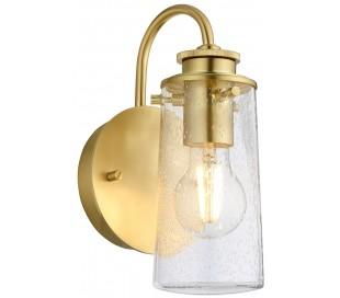 Braelyn Badeværelseslampe i stål og glas H24,4 cm 1 x E27 - Børstet messing/Klar med dråbeeffekt