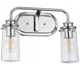 Braelyn Badeværelseslampe i stål og glas B37,4 cm 2 x E27 - Poleret krom/Klar med dråbeeffekt
