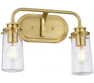 Braelyn Badeværelseslampe i stål og glas B37,4 cm 2 x E27 - Børstet messing/Klar med dråbeeffekt
