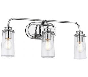Braelyn Badeværelseslampe i stål og glas B60,3 cm 3 x E27 - Poleret krom/Klar med dråbeeffekt