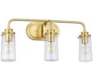 Braelyn Badeværelseslampe i stål og glas B60,3 cm 3 x E27 - Børstet messing/Klar med dråbeeffekt