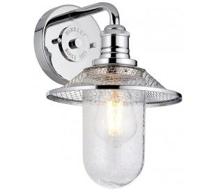 Rigby Badeværelseslampe i stål og glas H30 cm 1 x E27 - Poleret krom/Klar med dråbeeffekt