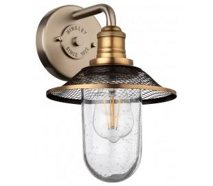 Rigby Badeværelseslampe i stål og glas H30 cm 1 x E27 - Antik nikkel/Antik messing/Klar med dråbeeffekt