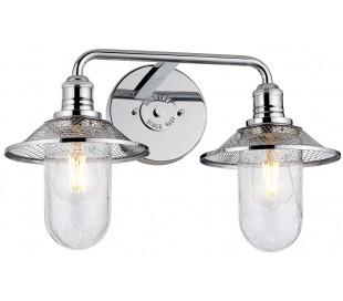 Rigby Badeværelseslampe i stål og glas B48,3 cm 2 x E27 - Poleret krom/Klar med dråbeeffekt