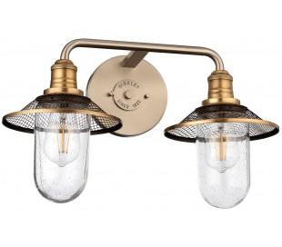 Rigby Badeværelseslampe i stål og glas B48,3 cm 2 x E27 - Antik nikkel/Antik messing/Klar med dråbeeffekt