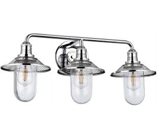 Rigby Badeværelseslampe i stål og glas B68,6 cm 3 x E27 - Poleret krom/Klar med dråbeeffekt