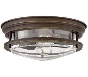 Hadrian Badeværelseslampe i stål og glas Ø30,5 cm 2 x E27 - Antik bronze/Klar