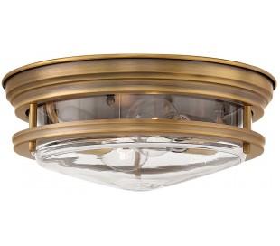 Hadrian Badeværelseslampe i stål og glas Ø30,5 cm 2 x E27 - Børstet messing/Klar