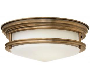 Hadrian Badeværelseslampe i stål og glas Ø30,5 cm 2 x E27 - Børstet messing/Opalhvid
