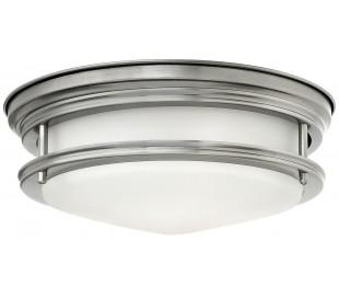 Hadrian Badeværelseslampe i stål og glas Ø30,5 cm 2 x E27 - Antik nikkel/Opalhvid