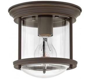 Hadrian Mini Badeværelseslampe i stål og glas Ø19,6 cm 1 x E27 - Antik bronze/Klar