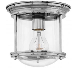Hadrian Mini Badeværelseslampe i stål og glas Ø19,6 cm 1 x E27 - Poleret krom/Klar