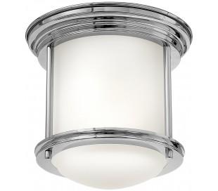Hadrian Mini Badeværelseslampe i stål og glas Ø19,6 cm 1 x E27 - Poleret krom/Opalhvid