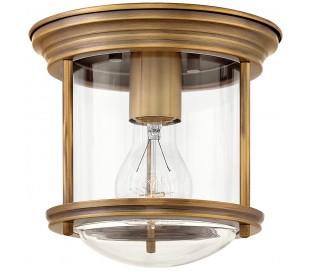 Hadrian Mini Badeværelseslampe i stål og glas Ø19,6 cm 1 x E27 - Børstet messing/Klar