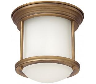 Hadrian Mini Badeværelseslampe i stål og glas Ø19,6 cm 1 x E27 - Børstet messing/Opalhvid