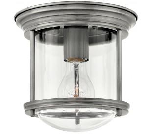 Hadrian Mini Badeværelseslampe i stål og glas Ø19,6 cm 1 x E27 - Antik nikkel/Klar