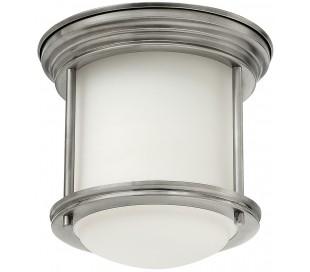 Hadrian Mini Badeværelseslampe i stål og glas Ø19,6 cm 1 x E27 - Antik nikkel/Opalhvid