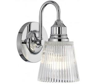 Addison Badeværelseslampe i stål og glas H24,2 cm 1 x G9 LED - Poleret krom/Klar rillet