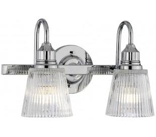 Addison Badeværelseslampe i stål og glas B40,6 cm 2 x G9 LED - Poleret krom/Klar rillet