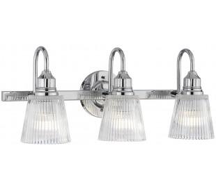 Addison Badeværelseslampe i stål og glas B61 cm 3 x G9 LED - Poleret krom/Klar rillet