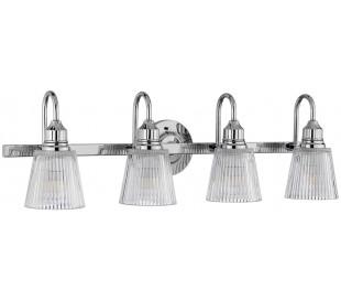 Addison Badeværelseslampe i stål og glas B82,2 cm 4 x G9 LED - Poleret krom/Klar rillet