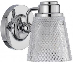 Hudson Badeværelseslampe i stål og glas H16 cm 1 x G9 LED - Poleret krom/Klar kantet